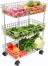 3 Tier Vegetable & Fruits Trolley Basket Organizer Storage Shelf Shelves Rack