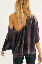 Free People We The Free Valerie Tee Scoop Back Velvet Top Navy Purple NWT $68 M