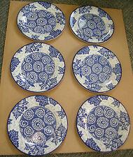 "Set of Six Pottery Barn Batik Blue & White 9"" Salad Plates"