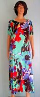 Jostar Teal FLORAL SS Maxi DRESS Wrinkle Free Slinky Poly Spandex Travel Fabric
