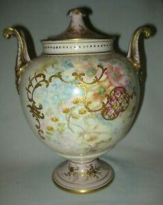 Antique Vintage c.1900 Royal Bonn Covered Handled Urn Pink, Gold & Florals