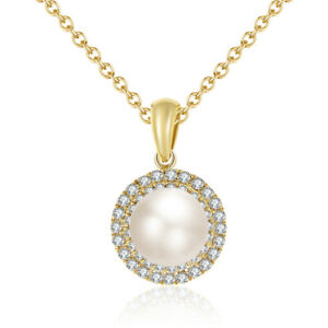 2.25 Carat 14K Yellow Gold Real Diamond Pearl Delicate Pendant Jewelry For Her