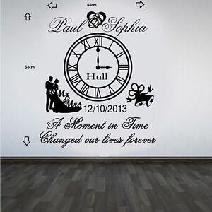 Personalised Wedding Clock Anniversary Keep Sake Wall Art Sticker/Decal#1