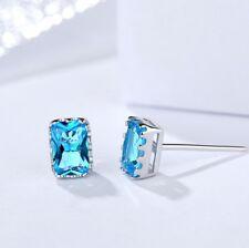 Fashion Blue Square CZ Crystal 925 Sterling Silver Stud Earrings Gift Box J9