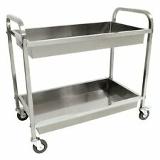 Bayou Classic 4873 Stainless Steel Rolling Party Serving Cart with Dual Trays
