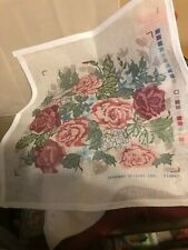 """Candamar """"Roses"""" Needlepoint Pillow Kit 14x14"""", estate sale 80's?, great cond."""
