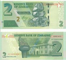 Zimbabwe [130R] - 2 Dollars 2016 UNC - Pick New, Serie AZ - replacement