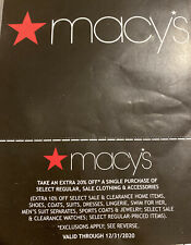 Macy's Extra 20% Off Coupon Exp 12/31/20
