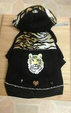 Designer X- small dogs clothes, black fleece /tiger fur& studs trim hooded coat.