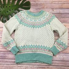 Northern Isles Vintage Wool Sweater Size M White Mint Green Fair Isle Knit 80s