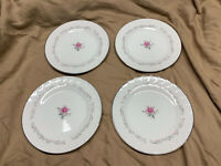 "Royal Swirl Fine China Of Japan - 7 1/2"" Salad Plates - Pink Rose Set Of 4"