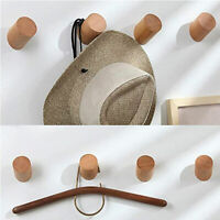 Wall-Mounted Solid Wood Round Coat Hook Clothes Scarf Hat Bag Hangers Towel Rack