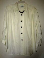 JOANNA Vtg Retro Mod Ivory Wooden Necklace Attach Blouse Tunic Top Shirt Plus 1X