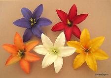 """Med 3.5"""" Multi Lily Silk Flower Hair Clip 5 Piece Lot, Pin Up,Updo,Headband"""