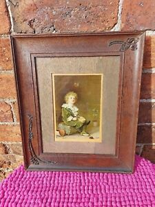 Beautiful Wooden Framed Antique Picture of a Child Blowing Bubbles