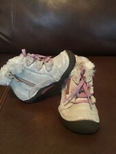 Stride Rite ICE PRINCESS Silver Cream Pink Leather Boots Toddler Girl's Size 5M