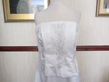 Jasmine Couture ivory/silver wedding dress. beaded satin 14