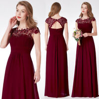 Ever-Pretty Cap Sleeve Bridesmaid Dresses Lace Burgundy Evening Ball Gown 09993
