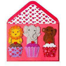 Papyrus REAL FELT Finger Puppets Valentine's Day Card Animal Cupcakes  $8.95