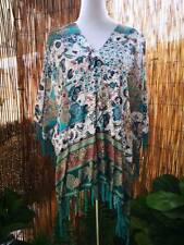 Cotton/Viscose Tassel Beach Cover Up Kaftan/ Poncho OSFA Fits Sizes 12-14-16