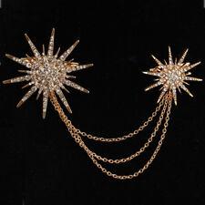 Dazzling Double Star Burst all Gold  Crystal Rhinestone chain Brooch