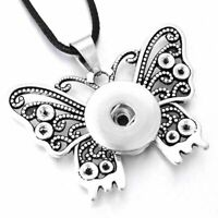 Butterfly Necklace Jewelry Snap Button Long Chain Pendant Vintage Charm Vintage