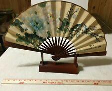 Vintage Oriental Fan - Large Bird Hand Painted - with Stand Chinese, Japanese ?