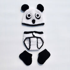 Cute Baby Newborn Boy Girl Panda Animal Outfit Costume Crochet Knit Photo Shoot