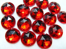 100 Ruby Red Faceted Beads Acrylic Rhinestone Gems 10 mm Round Flat Back Sew On