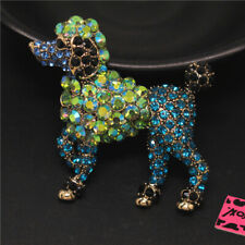 Betsey Johnson Charm Brooch Pin Gifts New Cute Ab Green Poodle Dog Crystal