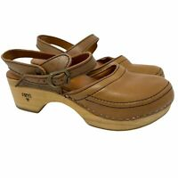 Vintage Frye Clogs Mary Jane Style Wood Leather Buckle Ankle Straps Women's 7