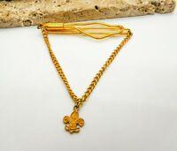 Vintage Boy Scouts Charm Mid Century Gold Chain Tie Bar Clip Clasp M4