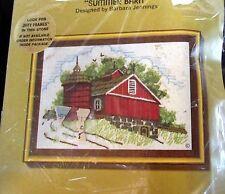 Vtg 70s Jiffy Stitchery Crewel Kit Summer Barn 5x7 old stock Embroidery