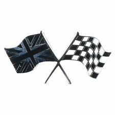 Union Jack GB / Checkered Crossed Flag Badge Emblem Self Adhesive Chrome