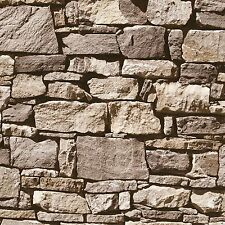 MURIVA DRY STONE WALL WALLPAPER NEUTRAL (J494-07) J49407 FEATURE WALL