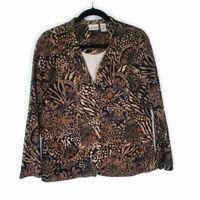 Chico's Cotton Blend Womens Brown Black Blazer Jacket Career Stretch Size 2