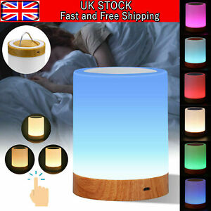 LED Night Light Touch Lamp Bedside Table Lamp for Kids Bedroom Dimmable RGB UK