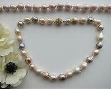 Multicolour or Purple South Sea Reborn Keshi Baroque Pearl Necklace.