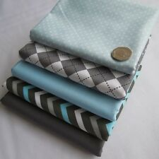 Grey and blue spots diamonds plain chevron nursery boys designer fabric bundle