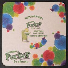 2004 DeKuyper Pucker Schnapps Beer Liqueur Coaster Mat w/ Pop-out Center Recipe