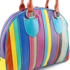 SAC à MAIN en Cuir Véritable Multicolore rayures - Leather Handbag Multicolored