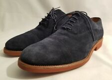 Malatesta Dark Navy Blue Suede Lace Up Oxford Shoes Orange Sole Mens Size 42 New