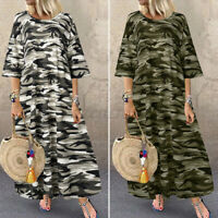 Mode Femme Bouffant Loisir Camouflage Manche 3/4 Col Rond Robe Dress Party Plus