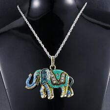 Vintage Wild Animal Elephant Long Sweater Chain Pendant Necklace Jewelry Costume