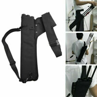 Archery Flèche Carquois 3 Tube Back Waist Shoulder Strap Bag Pouch Hunting Noir