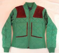 $198 Women Ralph Lauren Sport Suede Patch Equestrian Rider Quilted Jacket S GREN