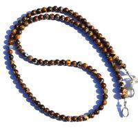 "Natural Gem Australian Boulder Fire Opal 4MM Size Round Beads Necklace 17"" 50Cts"