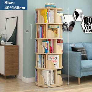 360-degree Rotating 5 Tier Display Shelf Bookcase Organiser White/Wood Color AU