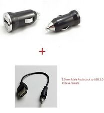 3.5mm Male Audio Jack to USB 2.0 Type A Female OTG Cable & 1A CAR USB Adapter