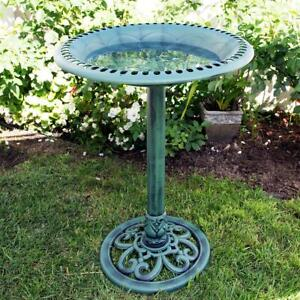 Lovely 28-Inch Outdoor Plastic Garden Bird Bath in Green!